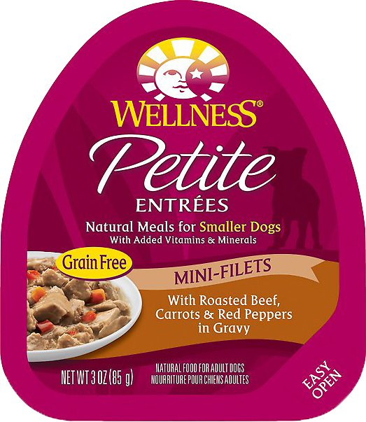Wellness Petite Entrees Mini-Filets with Roasted Beef, Carrots & Red Peppers in Gravy Grain-Free Wet Dog Food, 3-oz, case of 24