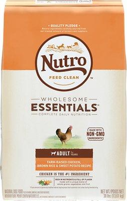 Nutro Wholesome Essentials Adult Farm Raised Chicken, Brown Rice & Sweet Potato Recipe Dry Dog Food, 30-lb bag