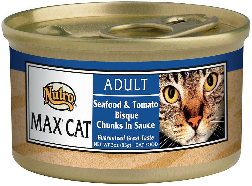 Nutro Max Adult Seafood & Tomato Bisque Chunks in Sauce Canned Cat Food, 3-oz