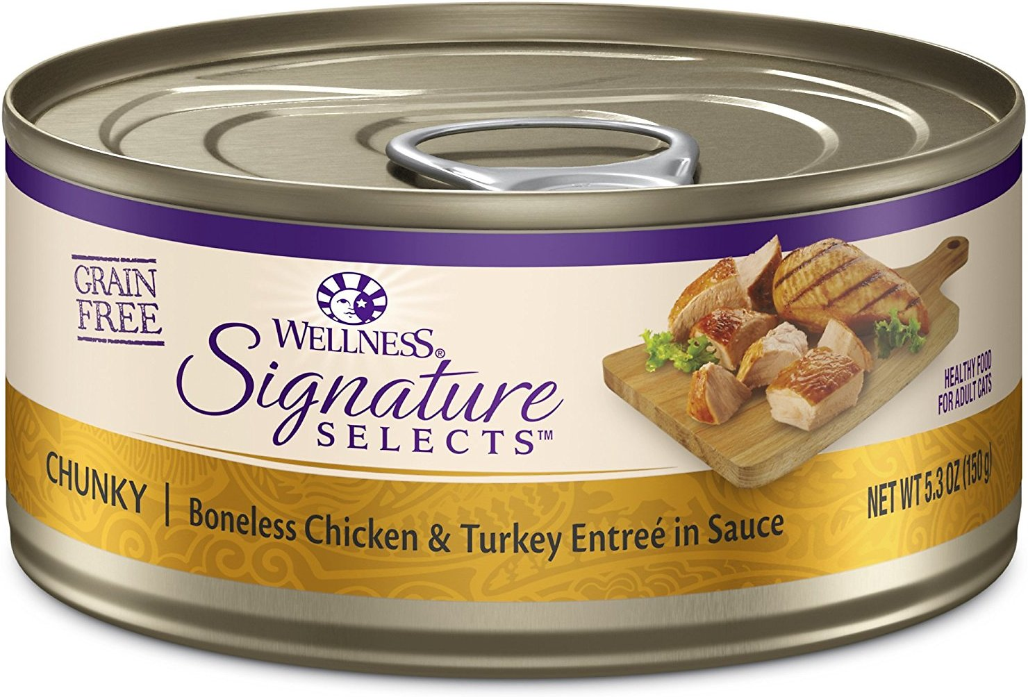 Wellness CORE Signature Selects Chunky Boneless Chicken & Turkey Entree in Sauce Grain-Free Canned Cat Food, 2.8-oz