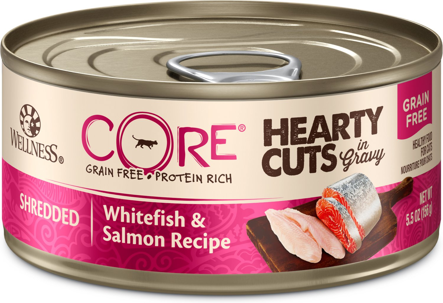 Wellness CORE Grain-Free Hearty Cuts in Gravy Shredded Whitefish & Salmon Recipe Canned Cat Food, 5.5-oz