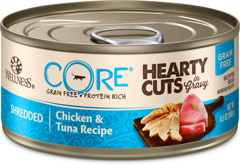 Wellness CORE Hearty Cuts in Gravy Shredded Chicken & Tuna Grain-Free Canned Cat Food, 5.5-oz