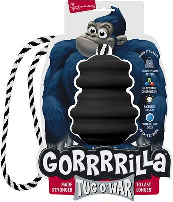 Multipet Gorrrrilla with Rope Dog Toy, Black, 4.5-in