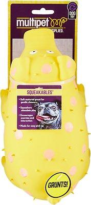 Multipet Goblets Polka Dot Pig Latex Dog Toy, Color Varies, 9-in