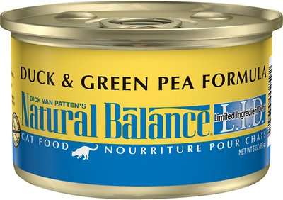 Natural Balance L.I.D. Limited Ingredient Diets Duck & Green Pea Formula Grain-Free Canned Cat Food, 3-oz, case of 24