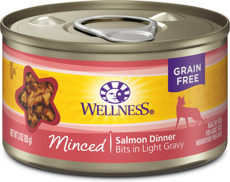 Wellness Minced Salmon Dinner Grain-Free Canned Cat Food, 3-oz