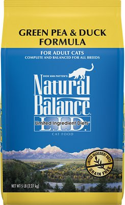Natural Balance L.I.D. Limited Ingredient Diets Green Pea & Duck Formula Grain-Free Dry Cat Food, 5-lb bag