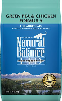 Natural Balance L.I.D. Limited Ingredient Diets Green Pea & Chicken Formula Grain-Free Dry Cat Food, 5-lb bag