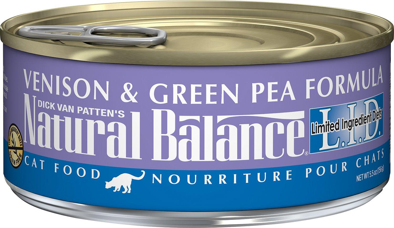 Natural Balance L.I.D. Limited Ingredient Diets Venison & Green Pea Formula Grain-Free Canned Cat Food, 5.5-oz