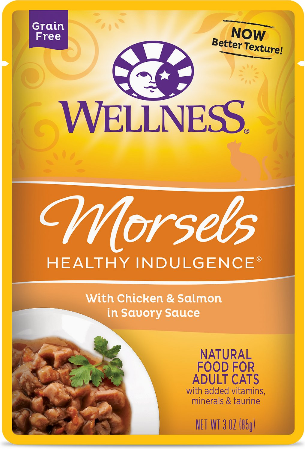 Wellness Healthy Indulgence Morsels with Chicken & Salmon in Savory Sauce Grain-Free Wet Cat Food Pouches, 3-oz, case of 24
