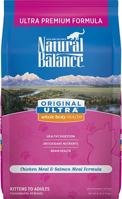 Natural Balance Original Ultra Whole Body Health Chicken Meal & Salmon Meal Formula Dry Cat Food, 6-lb bag