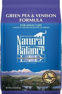 Natural Balance L.I.D. Limited Ingredient Diets Green Pea & Venison Grain-Free Dry Cat Food, 4.5-lb bag