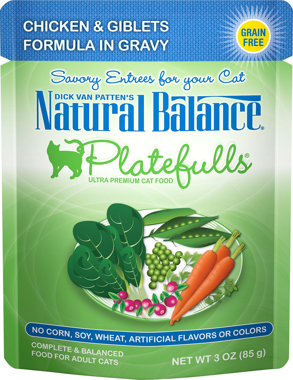 Natural Balance Platefulls Chicken & Giblets Formula in Gravy Grain-Free Cat Food Pouches, 3-oz pouch