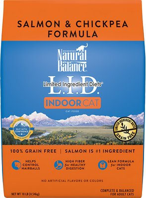 Natural Balance L.I.D. Limited Ingredient Diets Indoor Grain-Free Salmon & Chickpea Formula Dry Cat Food, 10-lb bag
