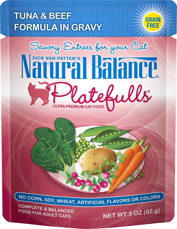 Natural Balance Platefulls Tuna & Beef Formula in Gravy Grain-Free Cat Food Pouches, 3-oz pouch