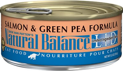 Natural Balance L.I.D. Limited Ingredient Diets Salmon & Green Pea Formula Grain-Free Canned Cat Food, 5.5-oz, case of 24