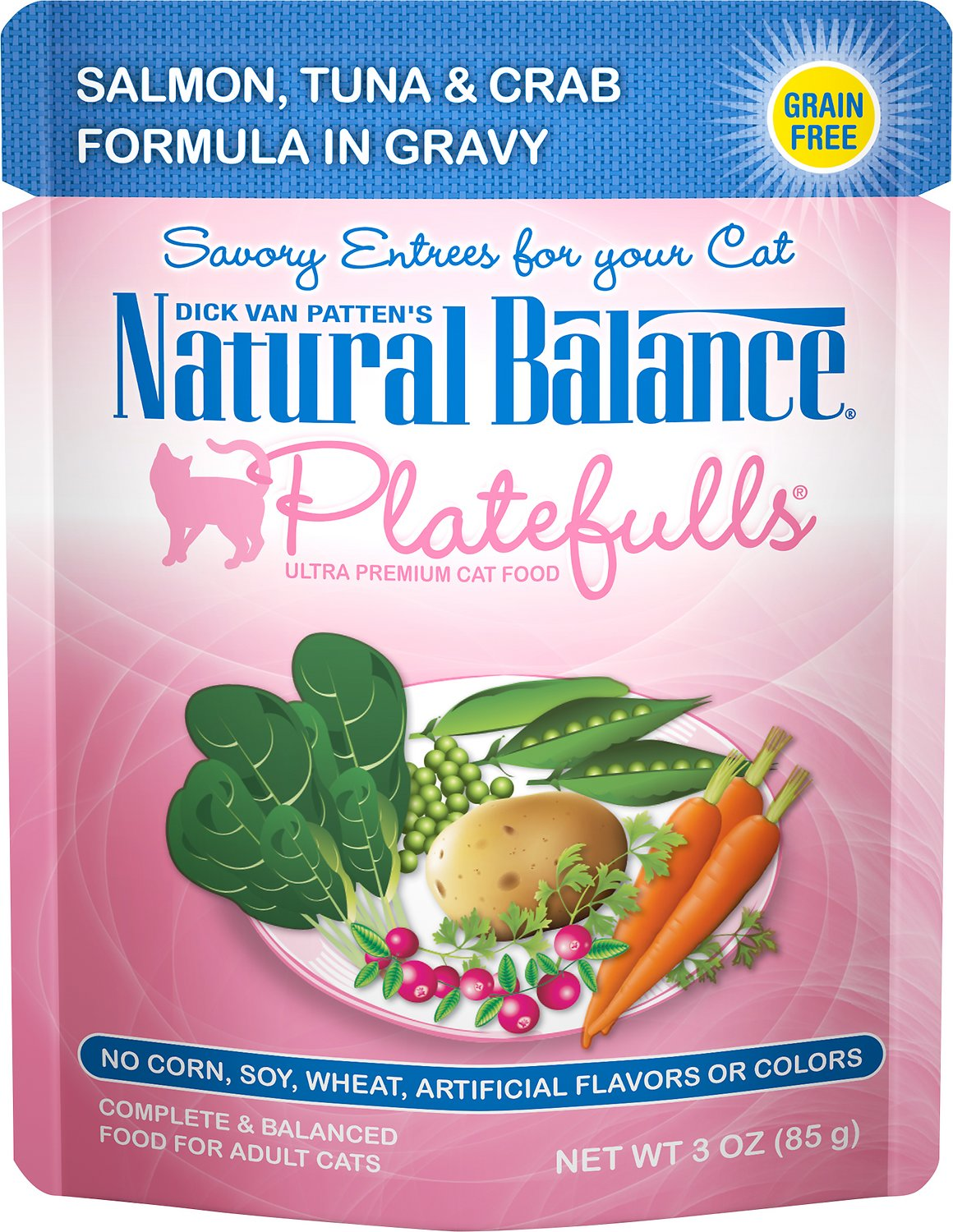 Natural Balance Platefulls Salmon, Tuna & Crab Formula in Gravy Grain-Free Cat Food Pouches, 3-oz pouch