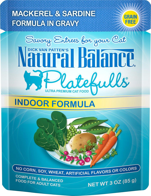 Natural Balance Platefulls Indoor Formula Mackerel & Sardine in Gravy Grain-Free Cat Food Pouches, 3-oz pouch