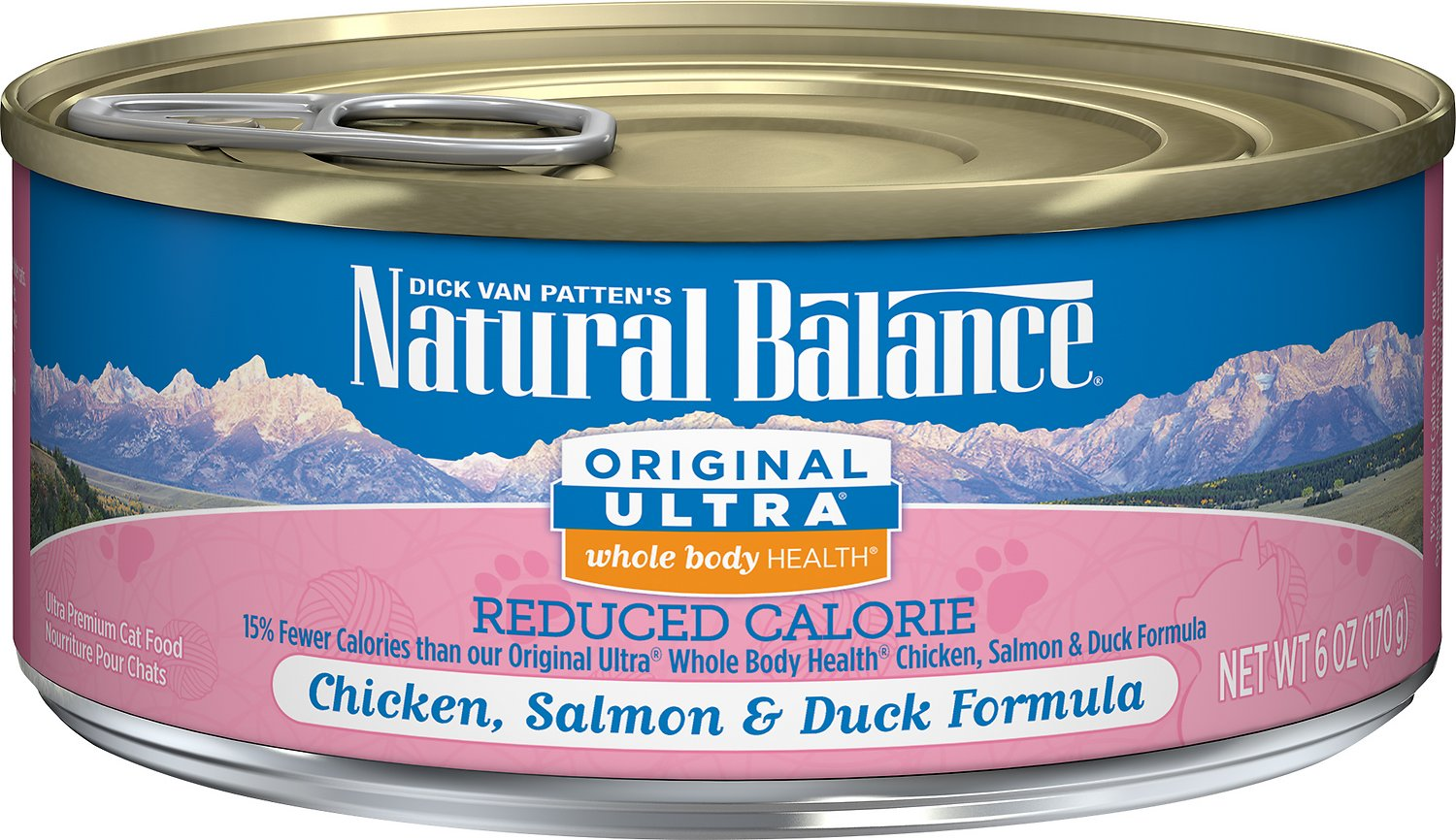 Natural Balance Original Ultra Whole Body Health Reduced Calorie Chicken, Salmon & Duck Formula Canned Cat Food, 6-oz