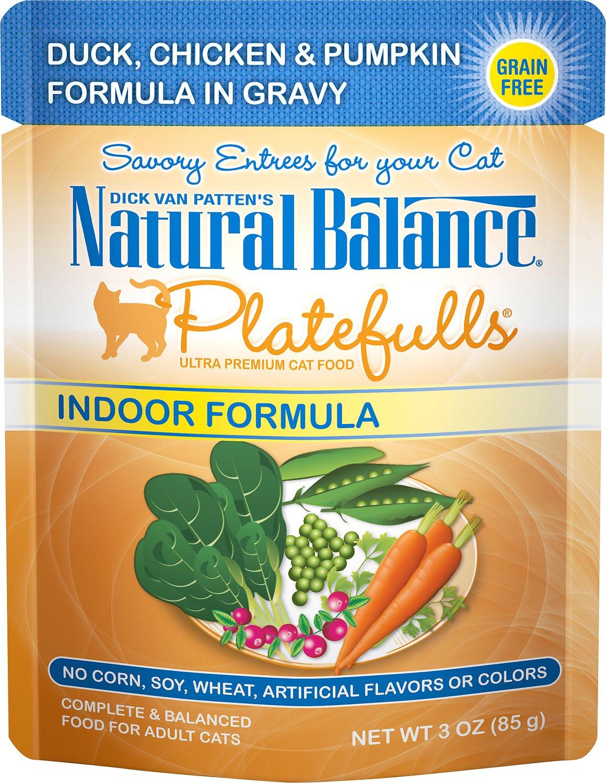 Natural Balance Platefulls Indoor Formula Duck, Chicken & Pumpkin Formula in Gravy Grain-Free Cat Food Pouches, 3-oz pouch