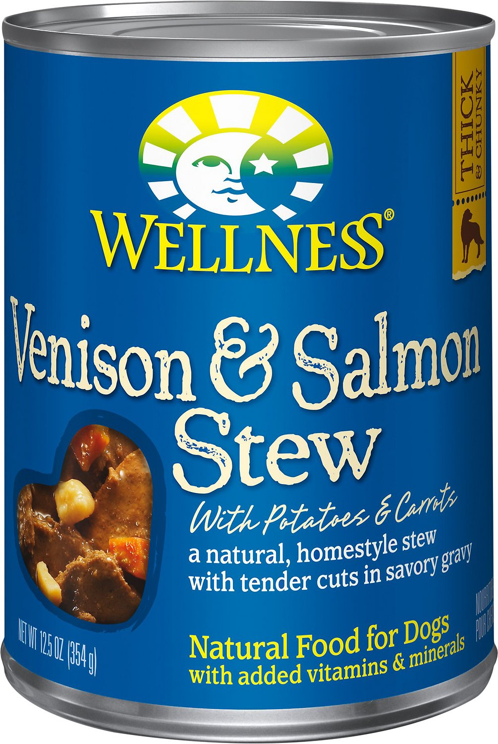Wellness Homestyle Stew Venison & Salmon with Potatoes & Carrots Canned Dog Food, 12.5-oz