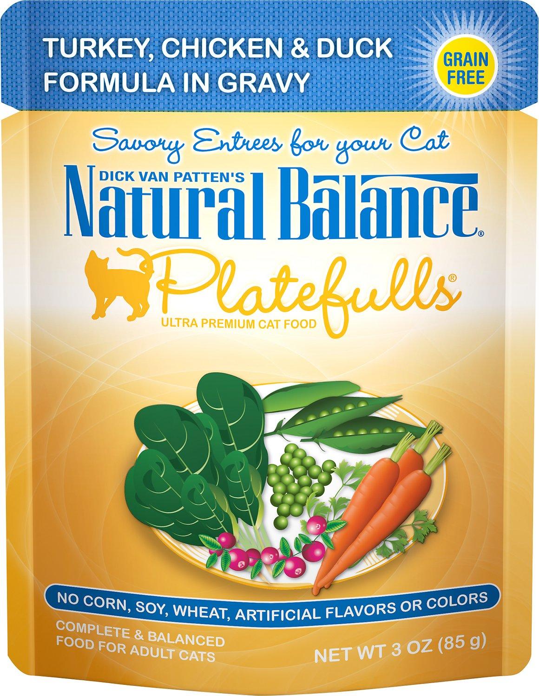 Natural Balance Platefulls Turkey, Chicken & Duck Formula in Gravy Grain-Free Cat Food Pouches, 3-oz pouch