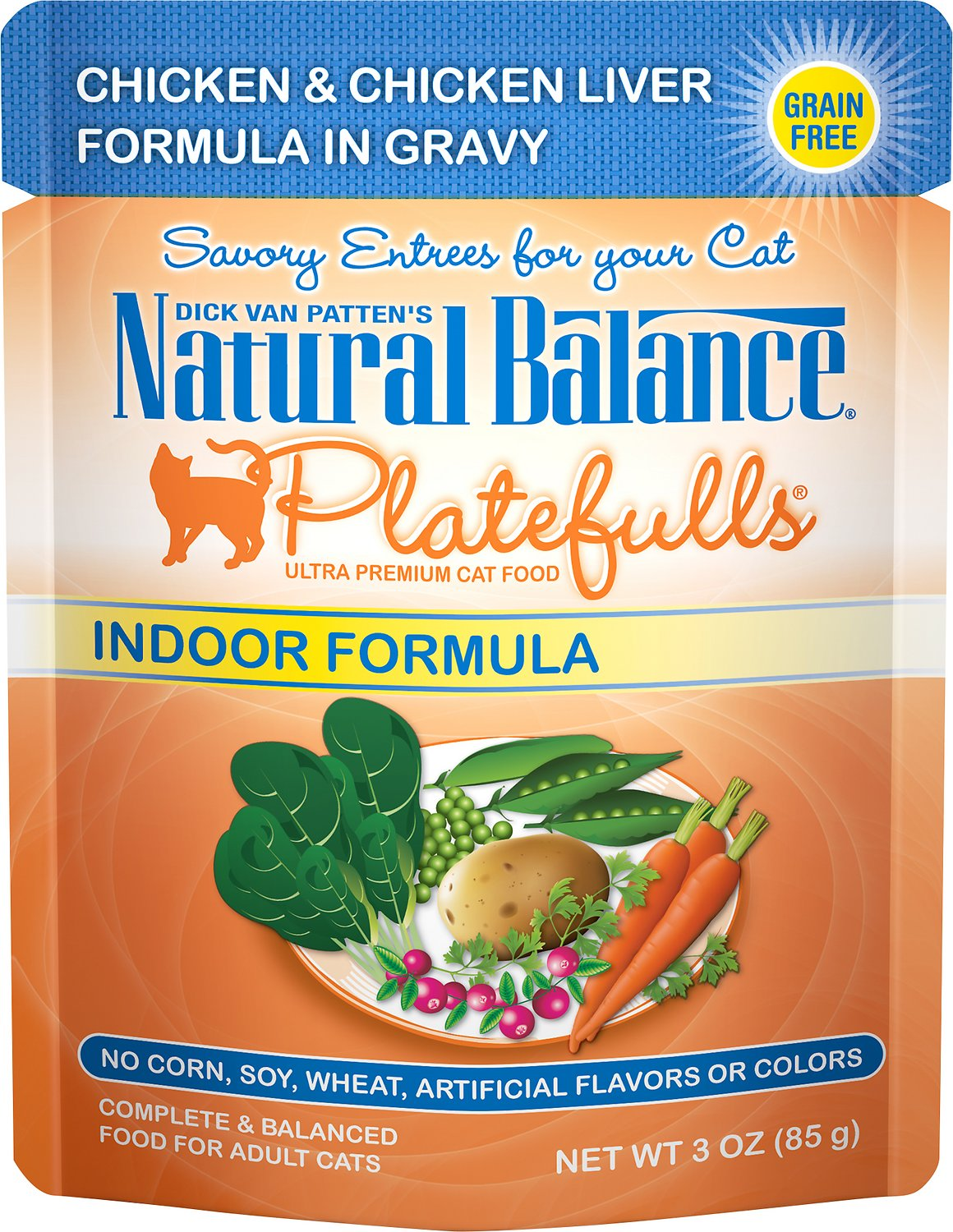 Natural Balance Platefulls Indoor Formula Chicken & Chicken Liver in Gravy Grain-Free Cat Food Pouches, 3-oz pouch