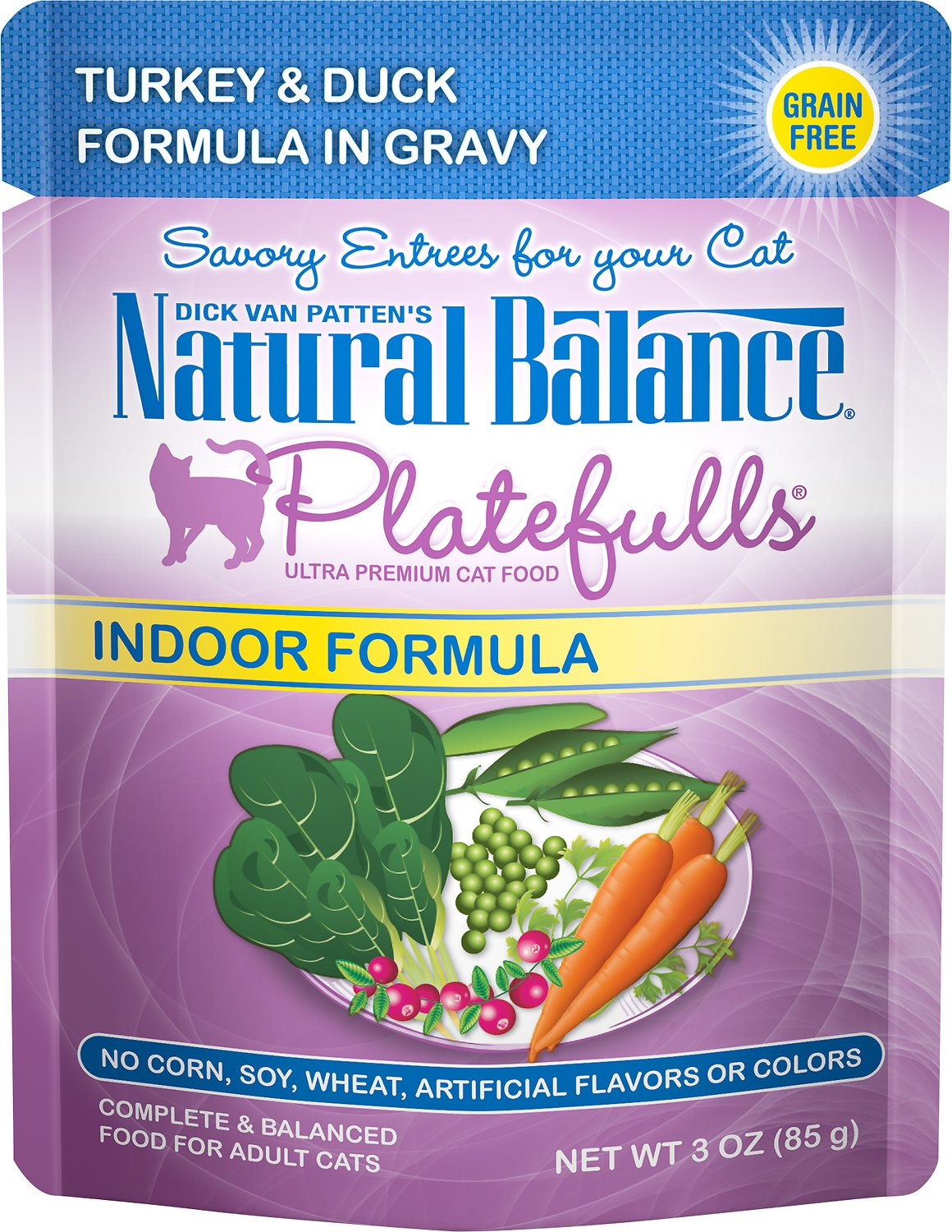 Natural Balance Platefulls Indoor Formula Turkey & Duck Formula in Gravy Grain-Free Cat Food Pouches, 3-oz pouch
