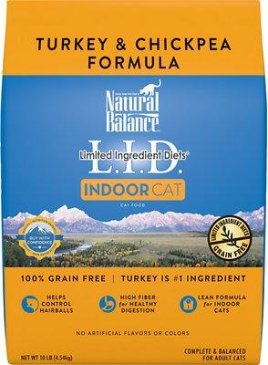 Natural Balance L.I.D. Limited Ingredient Diets Indoor Grain-Free Turkey & Chickpea Formula Dry Cat Food, 10-lb bag