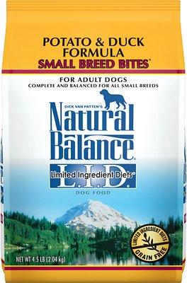 Natural Balance L.I.D. Limited Ingredient Diets Potato & Duck Formula Small Breed Bites Grain-Free Dry Dog Food, 4.5-lb bag