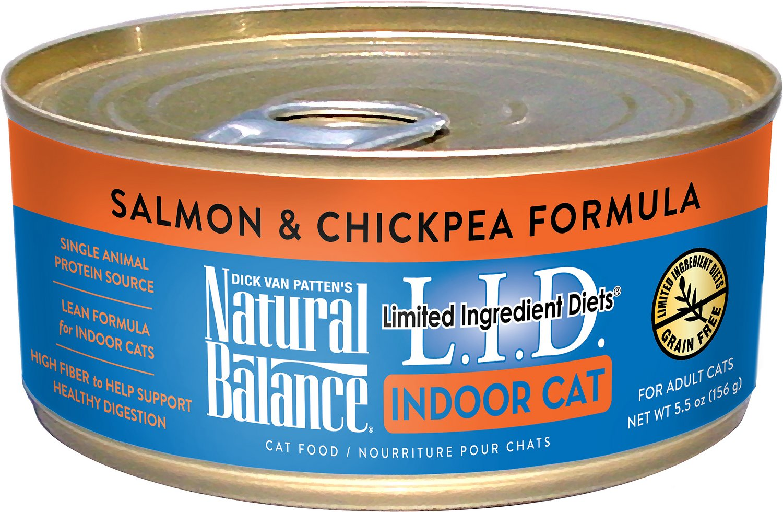 Natural Balance L.I.D. Limited Ingredient Diets Indoor Grain-Free Salmon & Chickpea Formula Wet Cat Food, 5.5-oz