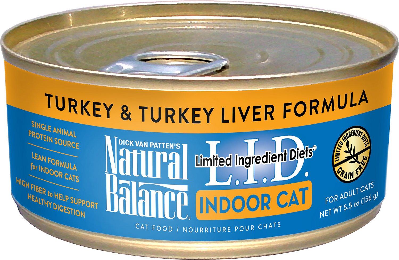 Natural Balance L.I.D. Limited Ingredient Diets Indoor Grain-Free Turkey & Turkey Liver Formula Wet Cat Food, 5.5-oz