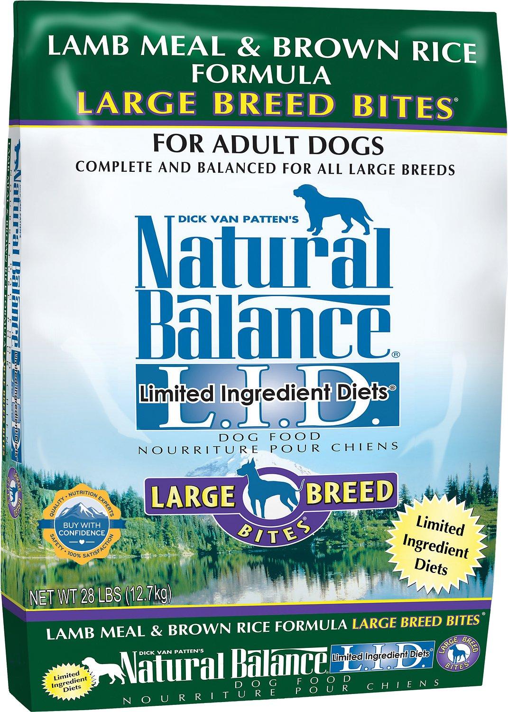 Natural Balance L.I.D. Limited Ingredient Diets Lamb Meal & Brown Rice Formula Large Breed Bites Dry Dog Food, 12-lb