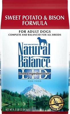 Natural Balance L.I.D. Limited Ingredient Diets Sweet Potato & Bison Formula Grain-Free Dry Dog Food, 4.5-lb bag