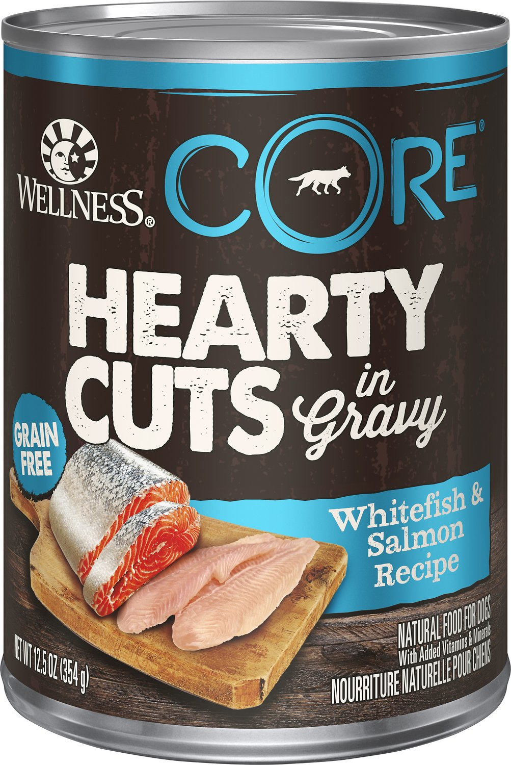 Wellness CORE Hearty Cuts in Gravy Whitefish & Salmon Grain-Free Canned Dog Food, 12.5-oz, case of 12