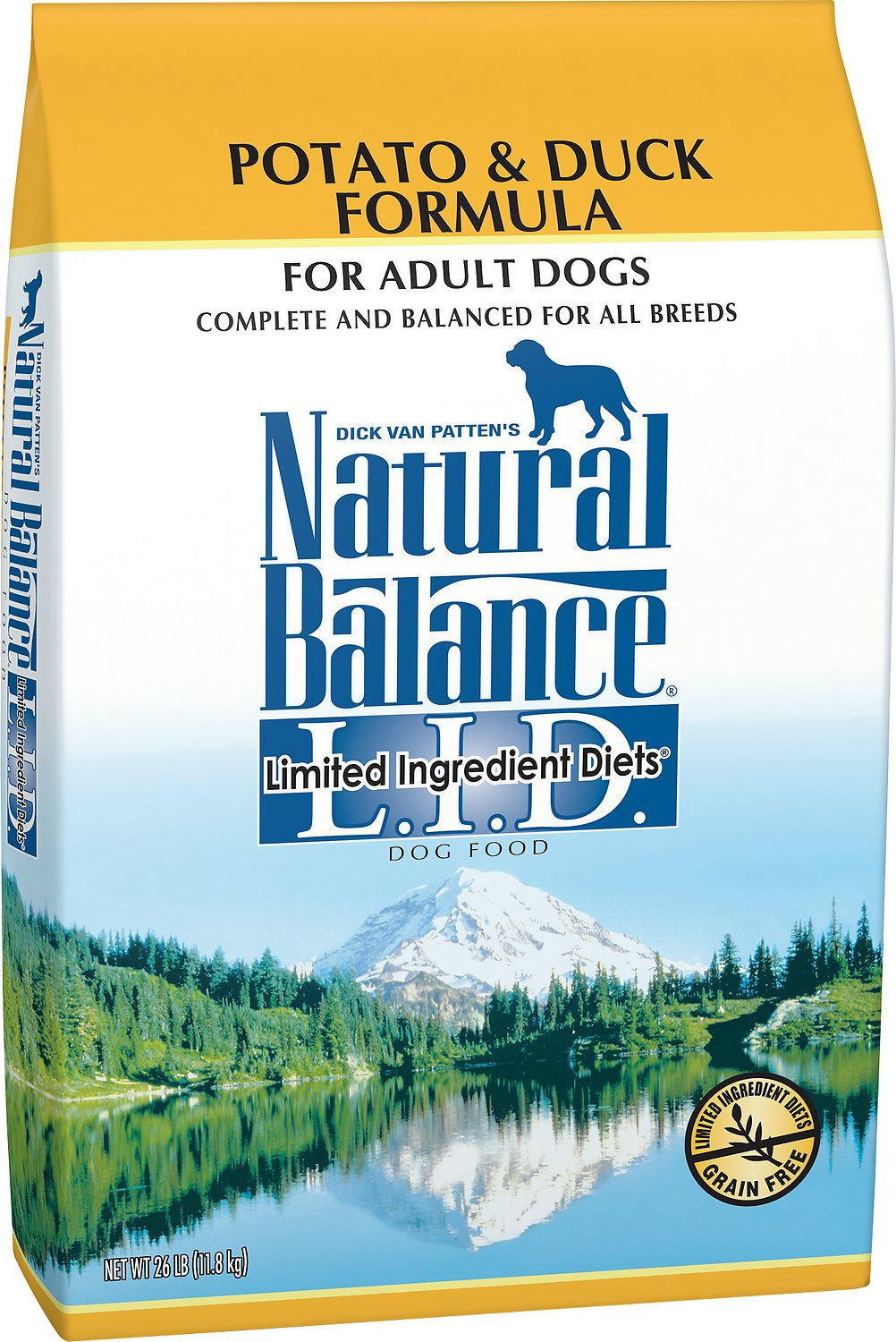 Natural Balance L.I.D. Limited Ingredient Diets Potato & Duck Formula Grain-Free Dry Dog Food, 24-lb