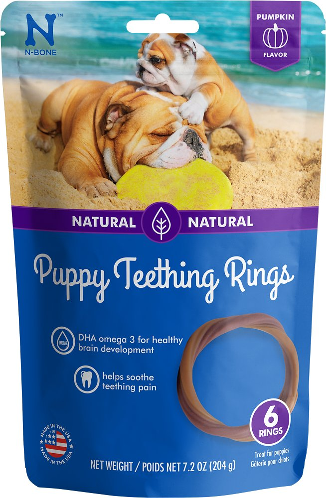 N-Bone Puppy Teething Ring Pumpkin Flavor Dog Treats, 6-count