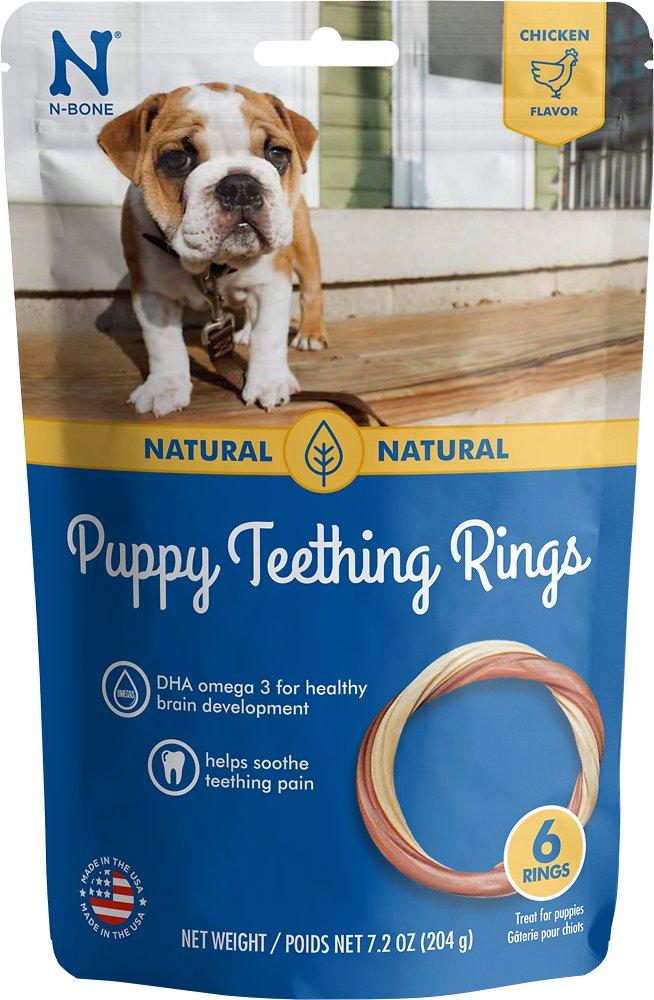 N-Bone Puppy Teething Ring Chicken Flavor Dog Treats, 6-pk