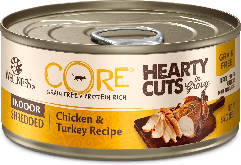 Wellness CORE Hearty Cuts in Gravy Indoor Shredded Chicken & Turkey Grain-Free Canned Cat Food, 5.5-oz, case of 24