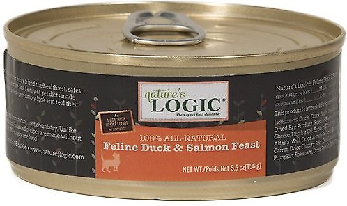 Nature's Logic Feline Duck & Salmon Recipe Grain-Free Canned Cat Food, 5.5-oz