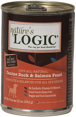 Nature's Logic Canine Duck & Salmon Feast Grain-Free Canned Dog Food, 13.2-oz