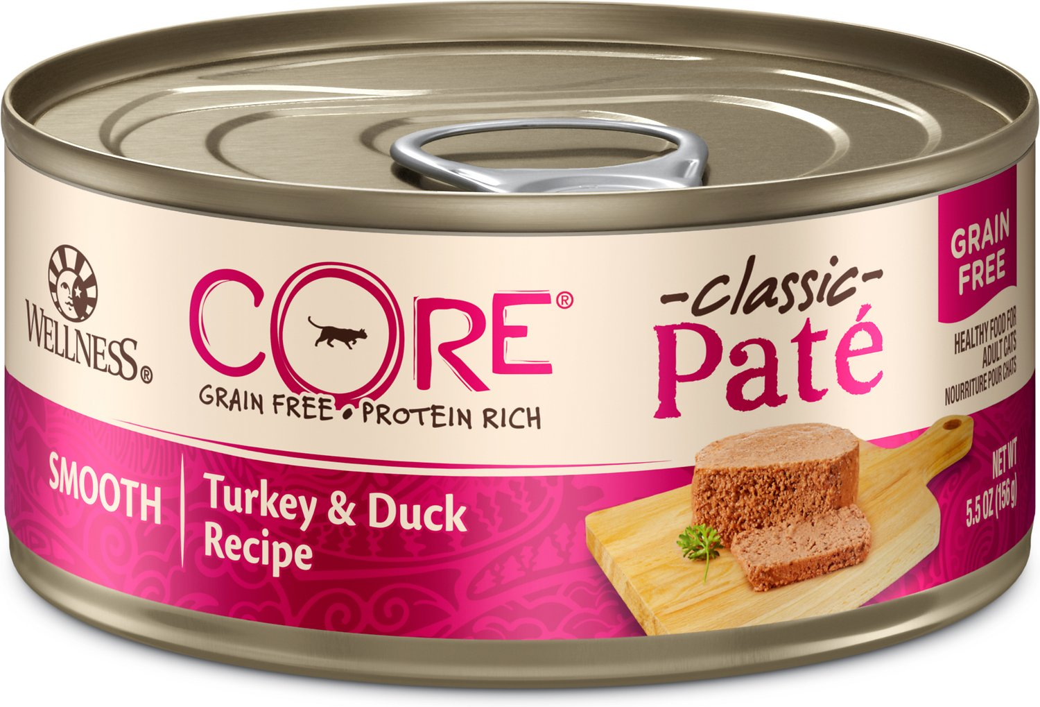Wellness CORE Natural Grain-Free Turkey & Duck Pate Canned Cat Food, 5.5-oz