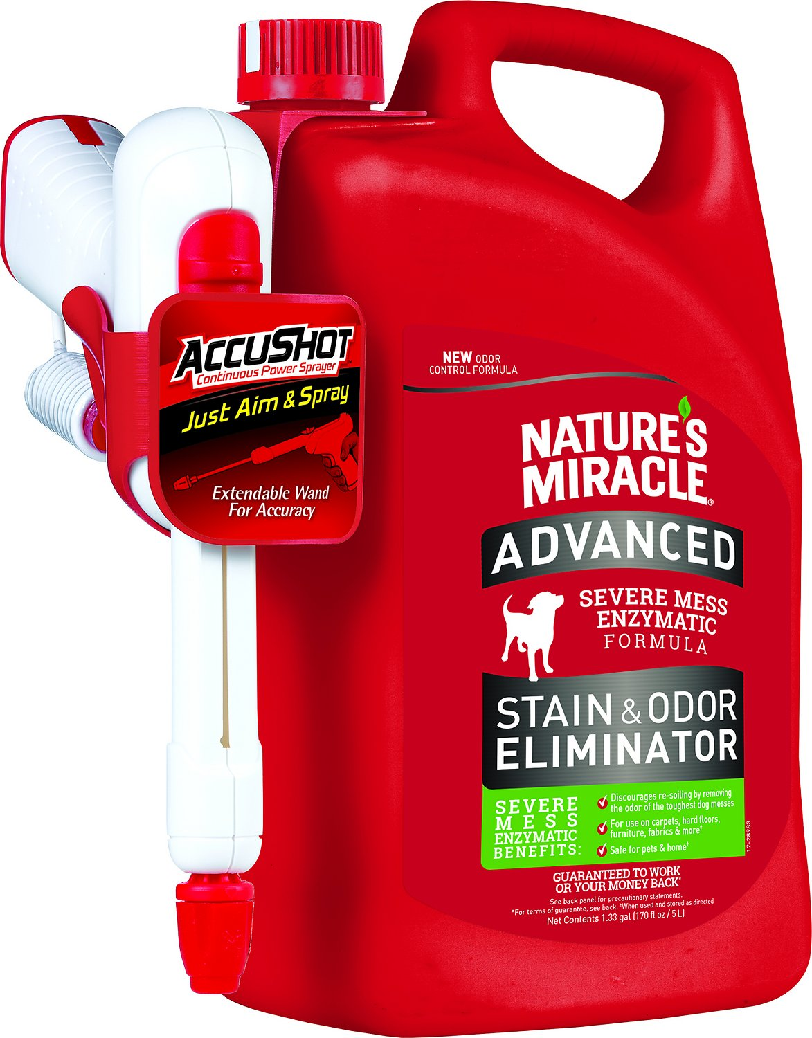 Nature's Miracle Dog Advanced Stain & Odor Remover, Accushot Spray, 1.3-gal bottle (Weights: 12.26pounds) Image