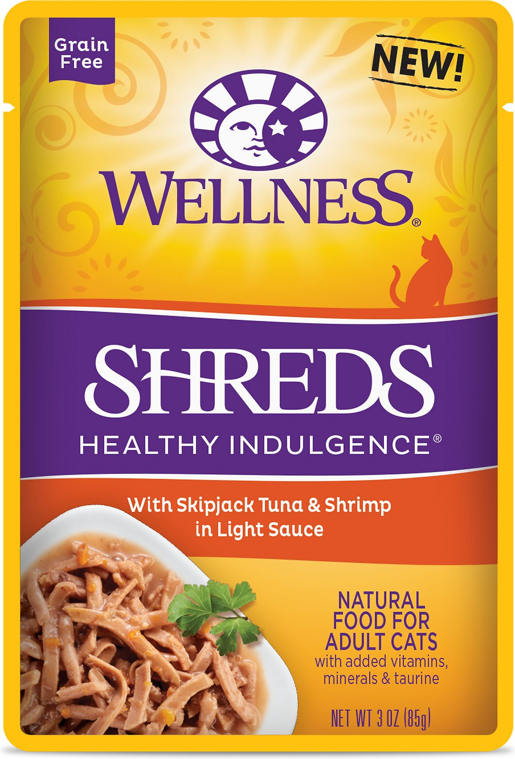 Wellness Healthy Indulgence Shreds with Skipjack Tuna & Shrimp in Light Sauce Grain-Free Wet Cat Food Pouches, 3-oz, case of 24