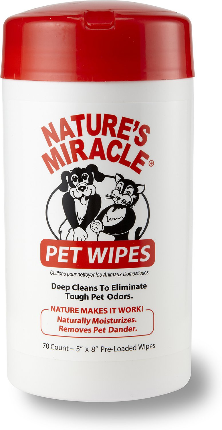 Nature's Miracle Pet Bath Wipes, 70-count dispenser