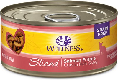 Wellness Complete Health Sliced Salmon Entree Canned Cat Food, 5.5-oz, case of 24