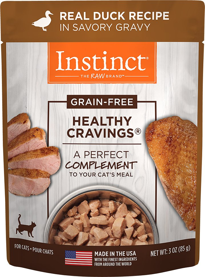 Instinct by Nature's Variety Healthy Cravings Grain-Free Real Duck Recipe Wet Cat Food Topper, 3-oz pouch (Size: 3-oz pouch, Size: 3-oz pouch) Image
