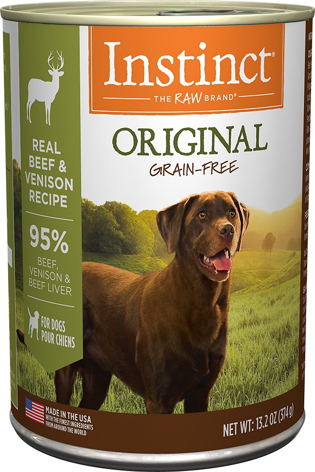 Instinct by Nature's Variety Original Grain-Free Real Beef & Venison Recipe Natural Wet Canned Dog Food, 13.2-oz