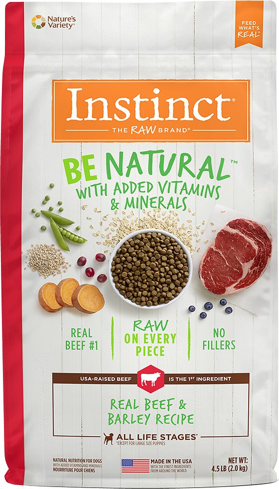 Instinct by Nature's Variety Be Natural Real Beef & Barley Recipe Dry Dog Food, 4.5-lb bag (Weights: 4.5 pounds) Image