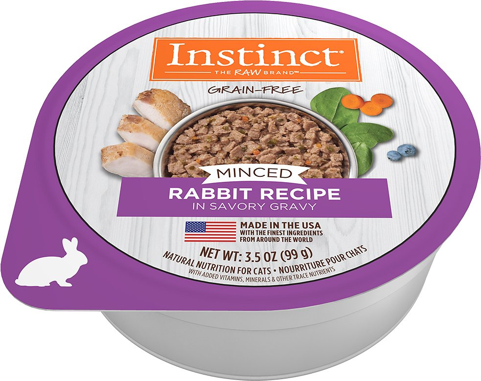 Instinct by Nature's Variety Grain-Free Minced Recipe with Real Rabbit Wet Cat Food Cups, 3.5-oz,